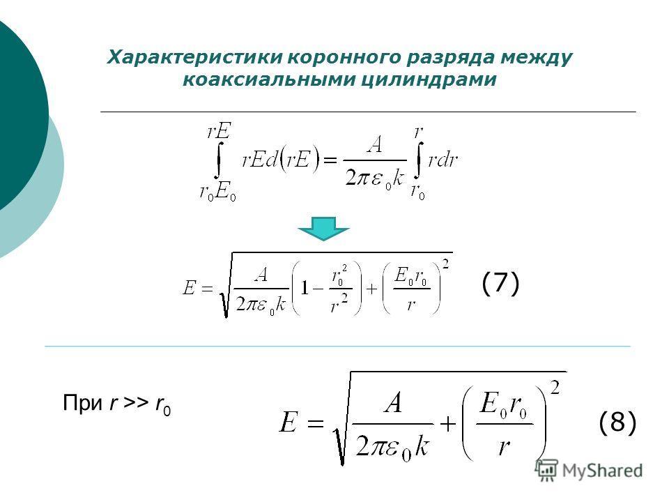 Характеристики коронного разряда между коаксиальными цилиндрами При r >> r 0 (7) (8)