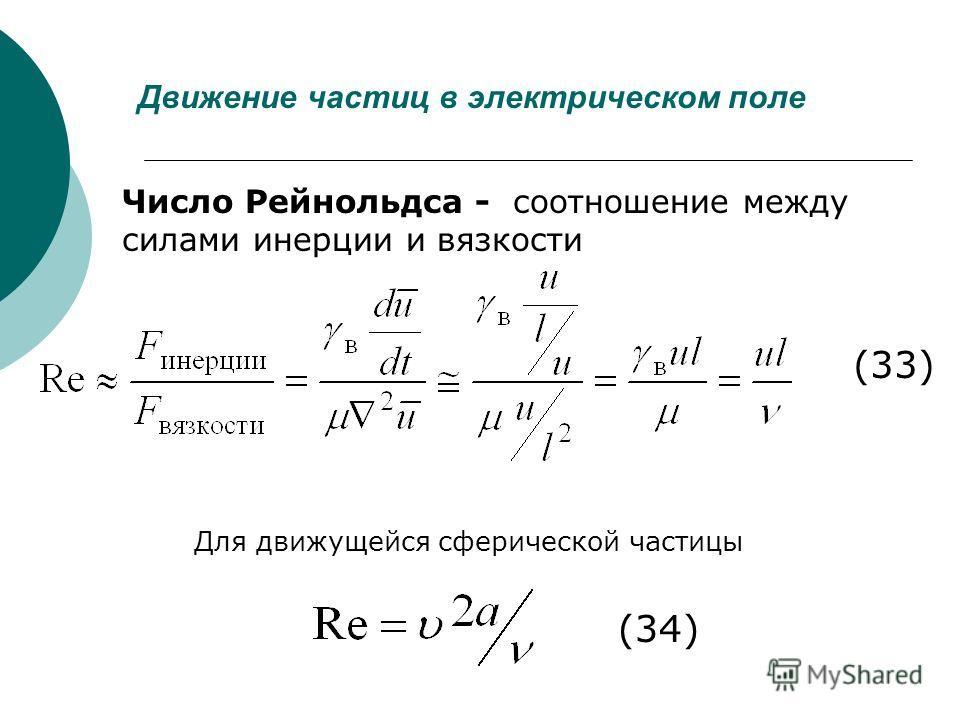 Движение частиц в электрическом поле (33) Число Рейнольдса - соотношение между силами инерции и вязкости (34) Для движущейся сферической частицы