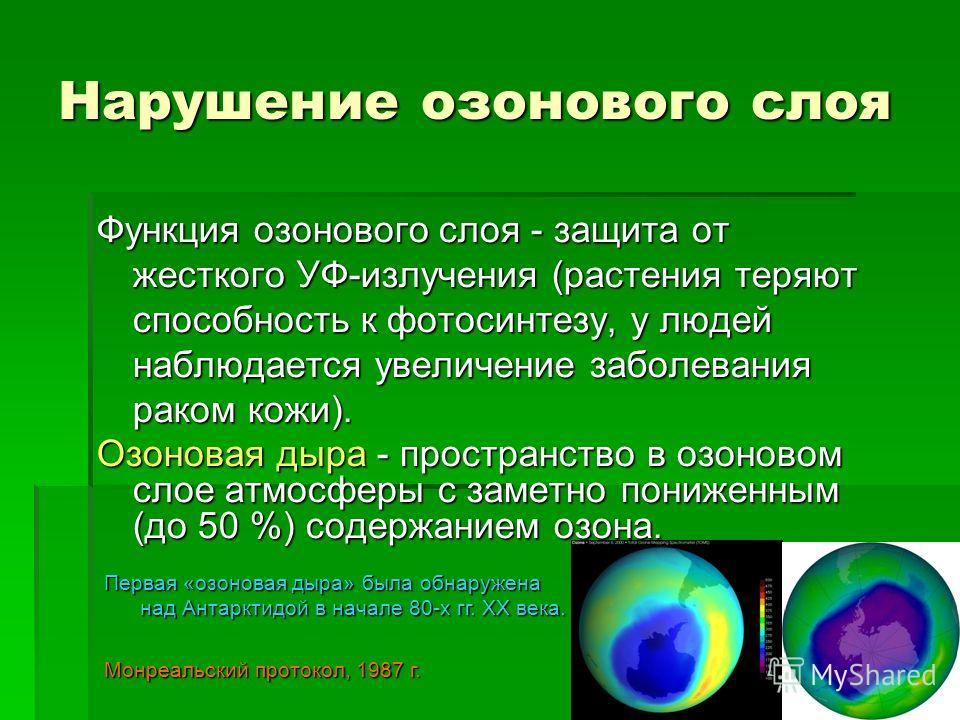 Нарушение озонового слоя Функция озонового слоя - защита от жесткого УФ-излучения (растения теряют способность к фотосинтезу, у людей наблюдается увеличение заболевания раком кожи). Озоновая дыра - пространство в озоновом слое атмосферы с заметно пон
