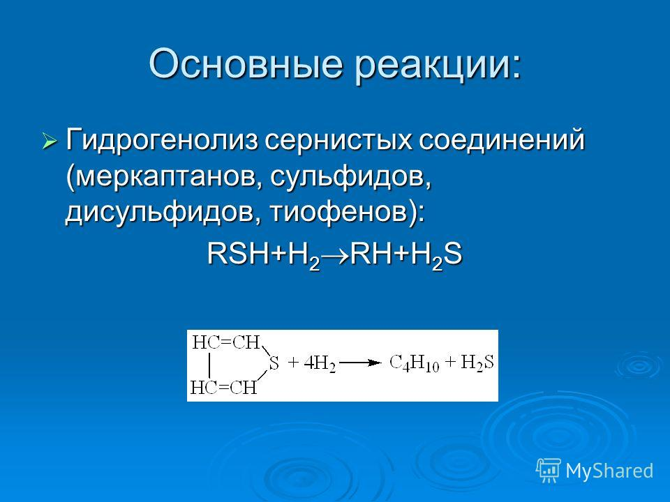 Основные реакции: Гидрогенолиз сернистых соединений (меркаптанов, сульфидов, дисульфидов, тиофенов): Гидрогенолиз сернистых соединений (меркаптанов, сульфидов, дисульфидов, тиофенов): RSH+H 2 RH+H 2 S