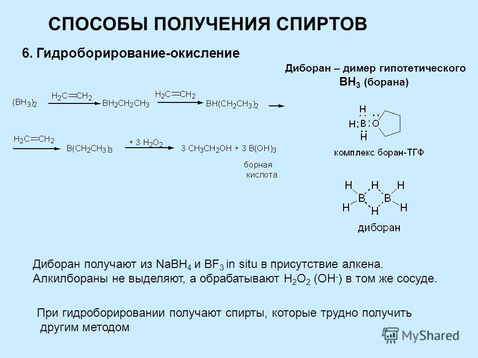 СПОСОБЫ ПОЛУЧЕНИЯ СПИРТОВ 6. Гидроборирование-окисление Диборан – димер гипотетического BH 3 (борана) Диборан получают из NaBH 4 и BF 3 in situ в присутствие алкена. Алкилбораны не выделяют, а обрабатывают Н 2 О 2 (ОН - ) в том же сосуде. При гидробо