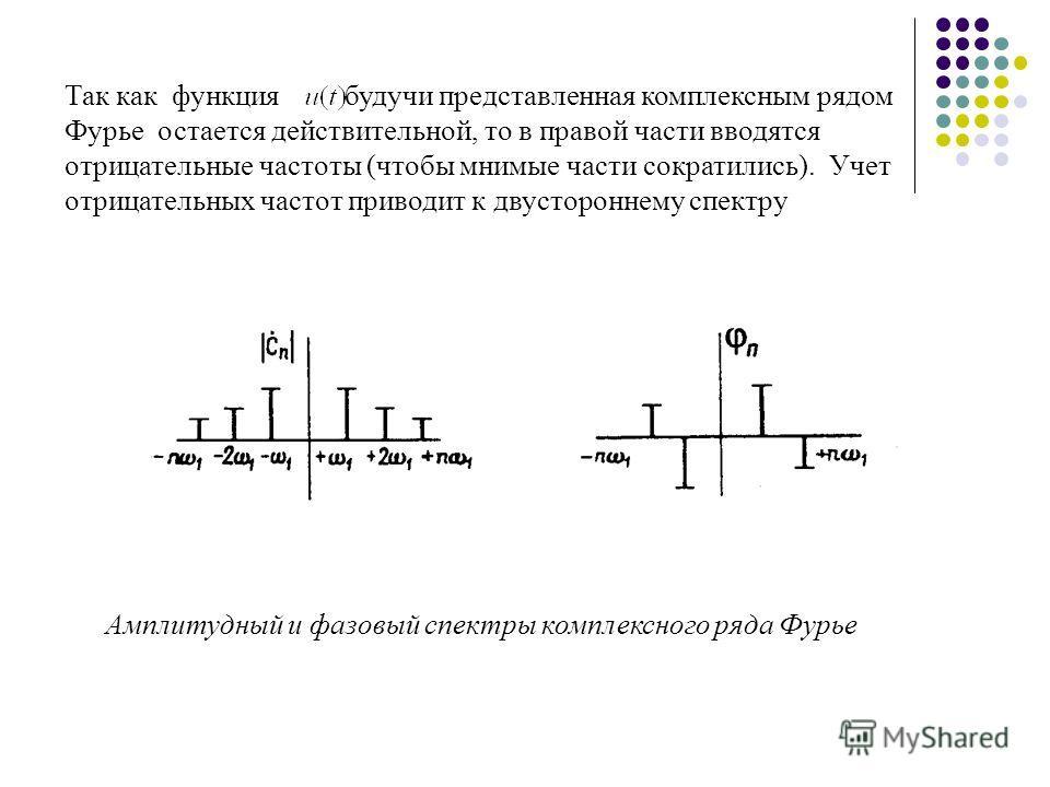 Так как функция будучи представленная комплексным рядом Фурье остается действительной, то в правой части вводятся отрицательные частоты (чтобы мнимые части сократились). Учет отрицательных частот приводит к двустороннему спектру Амплитудный и фазовый