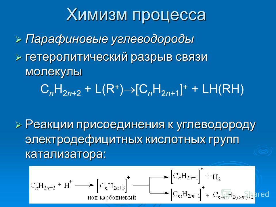 Химизм процесса Парафиновые углеводороды Парафиновые углеводороды гетеролитический разрыв связи молекулы гетеролитический разрыв связи молекулы Реакции присоединения к углеводороду электродефицитных кислотных групп катализатора: Реакции присоединения