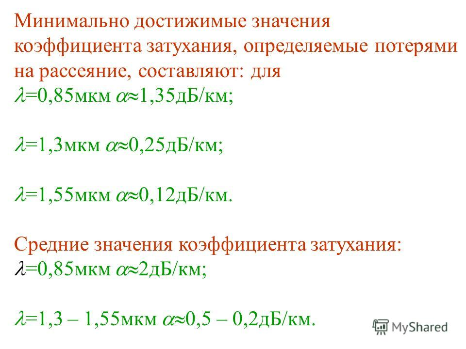 Минимально достижимые значения коэффициента затухания, определяемые потерями на рассеяние, составляют: для =0,85мкм 1,35дБ/км; =1,3мкм 0,25дБ/км; =1,55мкм 0,12дБ/км. Средние значения коэффициента затухания: =0,85мкм 2дБ/км; =1,3 – 1,55мкм 0,5 – 0,2дБ