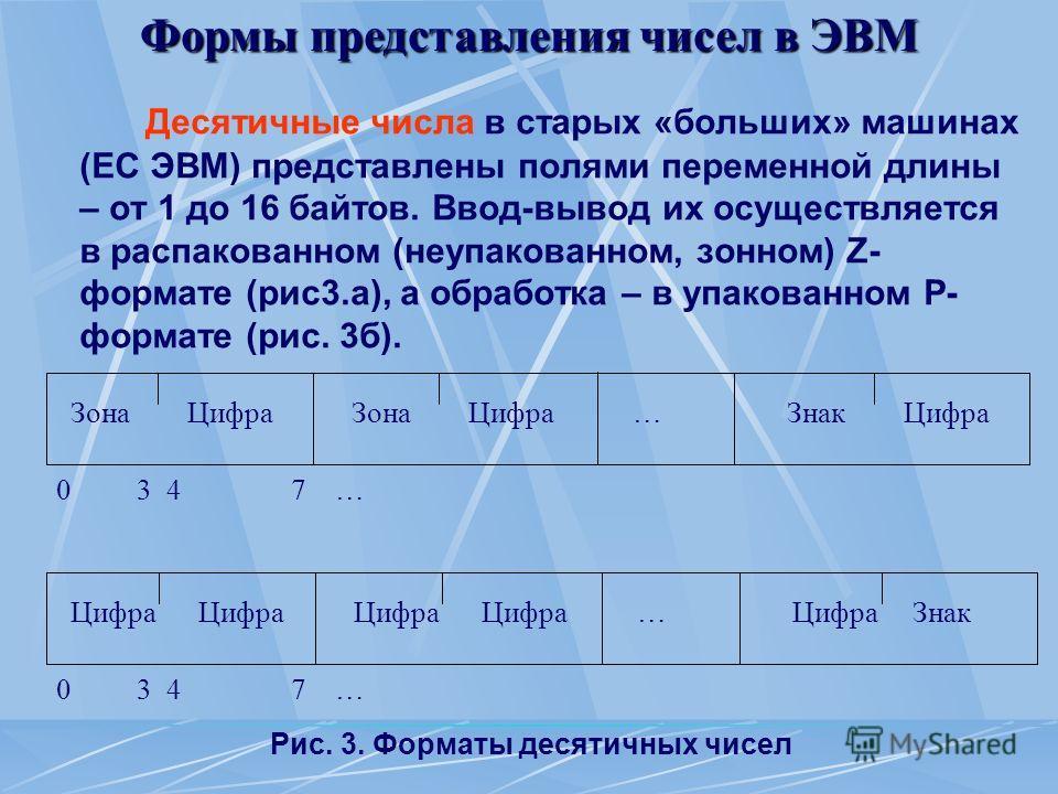 Формы представления чисел в ЭВМ Десятичные числа в старых «больших» машинах (ЕС ЭВМ) представлены полями переменной длины – от 1 до 16 байтов. Ввод-вывод их осуществляется в распакованном (неупакованном, зонном) Z- формате (рис3.а), а обработка – в у