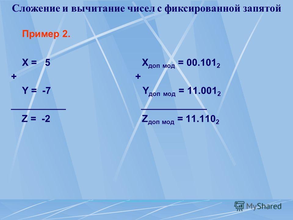 Сложение и вычитание чисел с фиксированной запятой Пример 2. Х = 5 X доп мод = 00.101 2 + Y = -7 Y доп мод = 11.001 2 __________ ____________ Z = -2 Z доп мод = 11.110 2