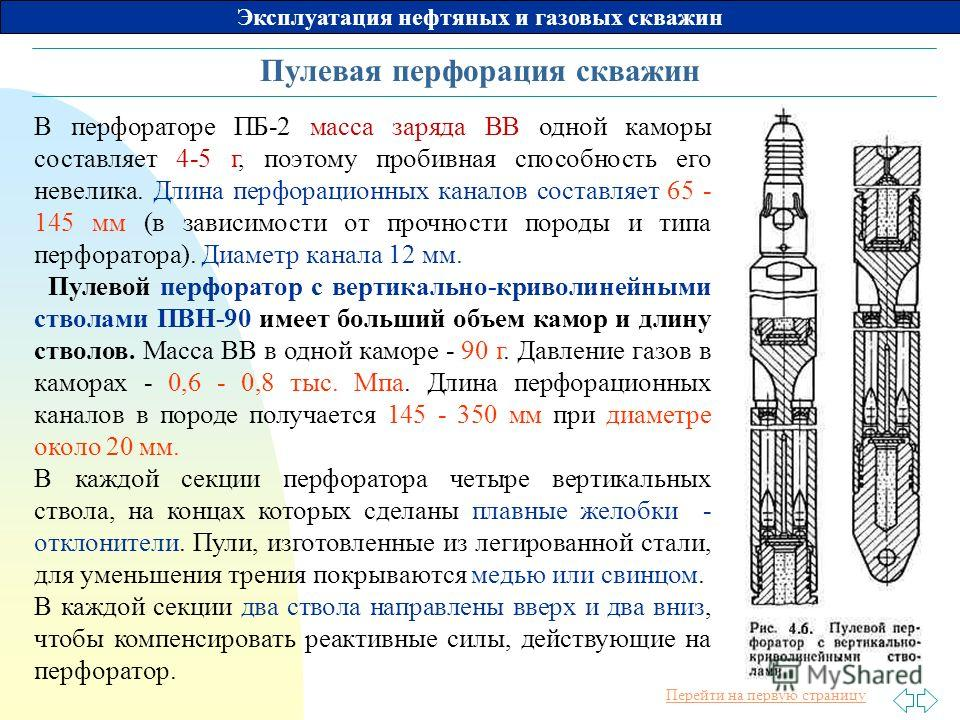 Перейти на первую страницу Эксплуатация нефтяных и газовых скважин Пулевая перфорация скважин В перфораторе ПБ-2 масса заряда ВВ одной каморы составляет 4-5 г, поэтому пробивная способность его невелика. Длина перфорационных каналов составляет 65 - 1