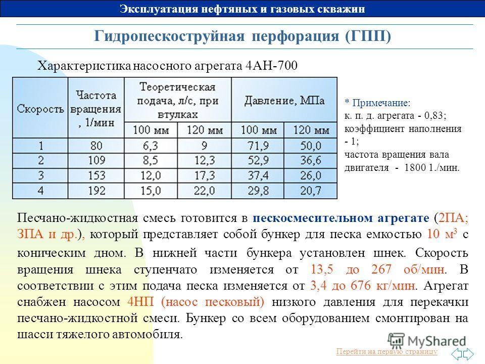 Перейти на первую страницу Эксплуатация нефтяных и газовых скважин Гидропескоструйная перфорация (ГПП) Характеристика насосного агрегата 4АН-700 * Примечание: к. п. д. агрегата - 0,83; коэффициент наполнения - 1; частота вращения вала двигателя - 180