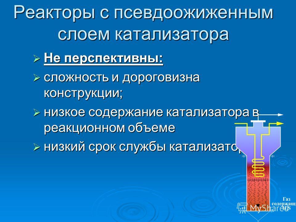 Реакторы с псевдоожиженным слоем катализатора Не перспективны: Не перспективны: сложность и дороговизна конструкции; сложность и дороговизна конструкции; низкое содержание катализатора в реакционном объеме низкое содержание катализатора в реакционном