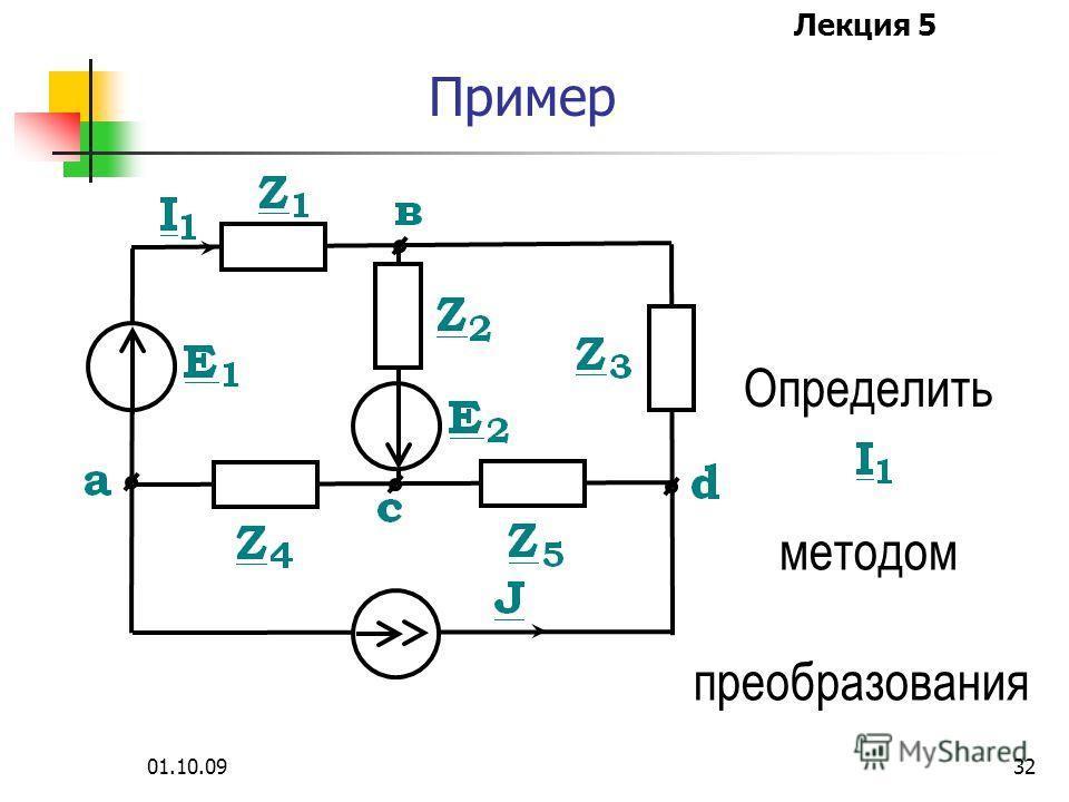 Лекция 5 01.10.0931 Метод преобразования Для этого схема преобразуется до одного контура с искомым током или напряжением, где эти величины легко определяются