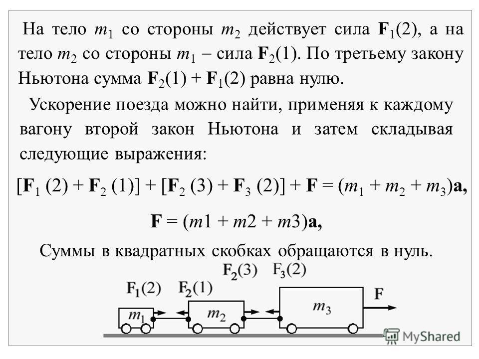 На тело m 1 со стороны m 2 действует сила F 1 (2), а на тело m 2 со стороны m 1 сила F 2 (1). По третьему закону Ньютона сумма F 2 (1) + F 1 (2) равна нулю. [F 1 (2) + F 2 (1)] + [F 2 (3) + F 3 (2)] + F = (m 1 + m 2 + m 3 )a, Ускорение поезда можно н