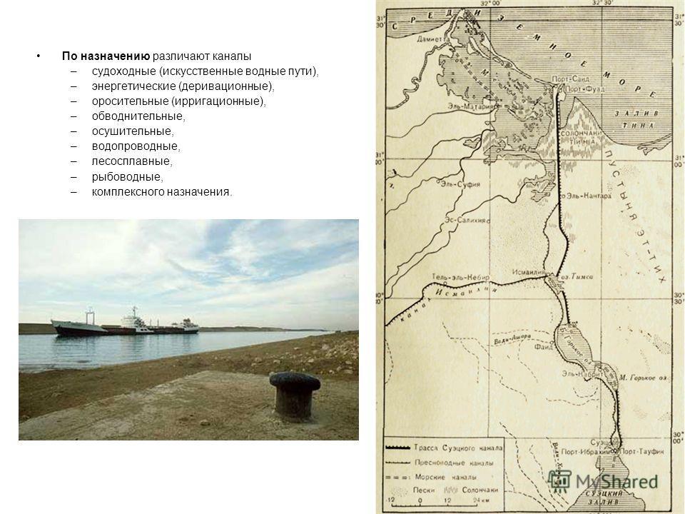 По назначению различают каналы –судоходные (искусственные водные пути), –энергетические (деривационные), –оросительные (ирригационные), –обводнительные, –осушительные, –водопроводные, –лесосплавные, –рыбоводные, –комплексного назначения.
