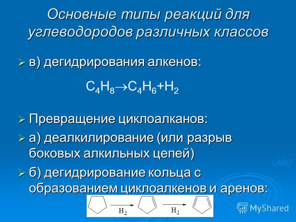 Основные типы реакций для углеводородов различных классов в) дегидрирования алкенов: в) дегидрирования алкенов: Превращение циклоалканов: Превращение циклоалканов: а) деалкилирование (или разрыв боковых алкильных цепей) а) деалкилирование (или разрыв