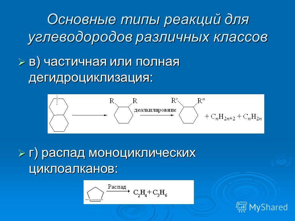 Основные типы реакций для углеводородов различных классов в) частичная или полная дегидроциклизация: в) частичная или полная дегидроциклизация: г) распад моноциклических циклоалканов: г) распад моноциклических циклоалканов: