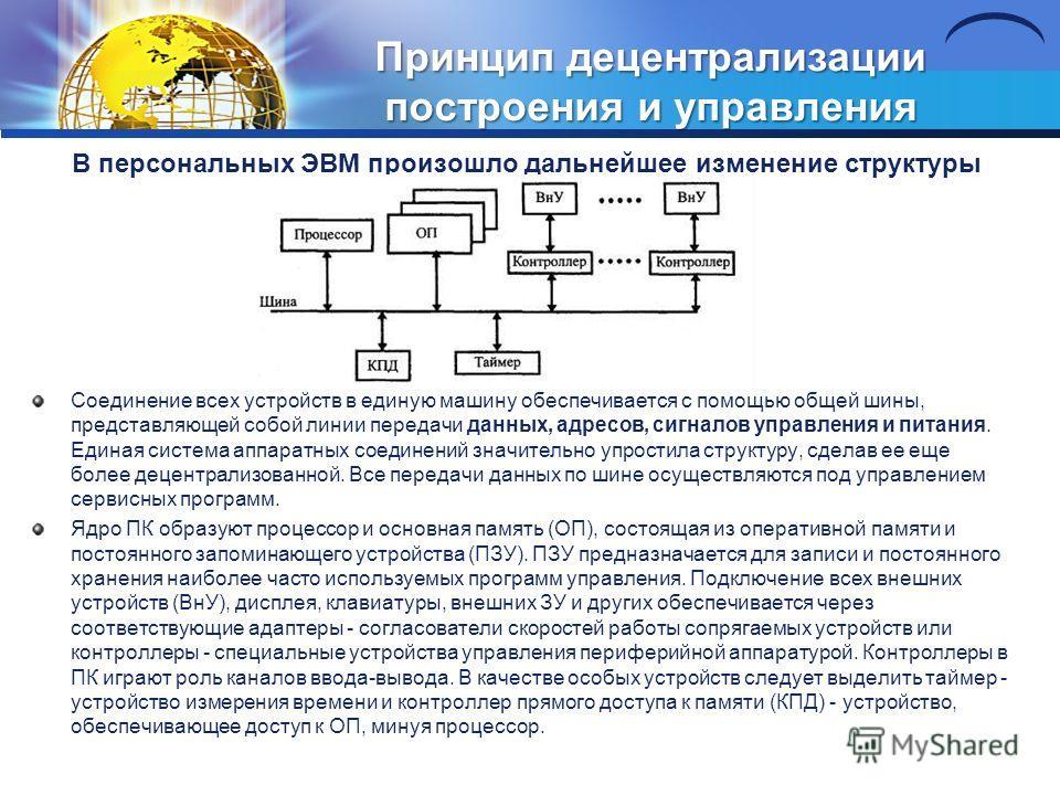 Принцип децентрализации построения и управления В персональных ЭВМ произошло дальнейшее изменение структуры Соединение всех устройств в единую машину обеспечивается с помощью общей шины, представляющей собой линии передачи данных, адресов, сигналов у
