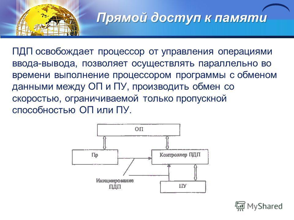 Прямой доступ к памяти ПДП освобождает процессор от управления операциями ввода-вывода, позволяет осуществлять параллельно во времени выполнение процессором программы с обменом данными между ОП и ПУ, производить обмен со скоростью, ограничиваемой тол