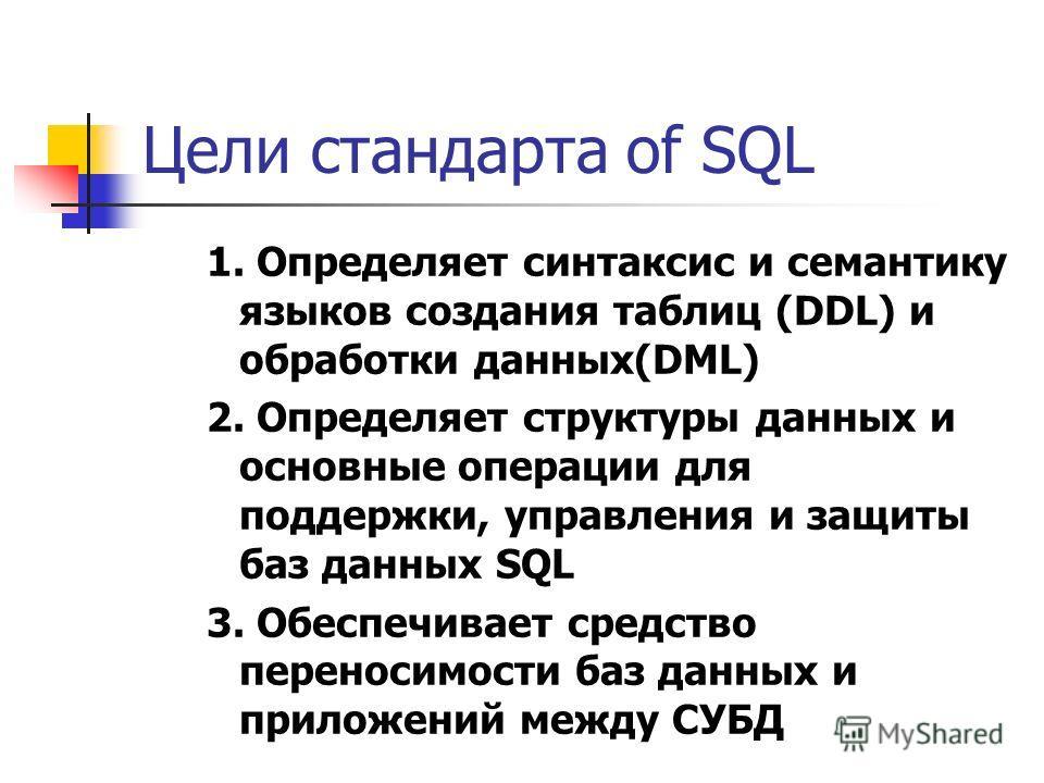 Цели стандарта of SQL 1. Определяет синтаксис и семантику языков создания таблиц (DDL) и обработки данных(DML) 2. Определяет структуры данных и основные операции для поддержки, управления и защиты баз данных SQL 3. Обеспечивает средство переносимости
