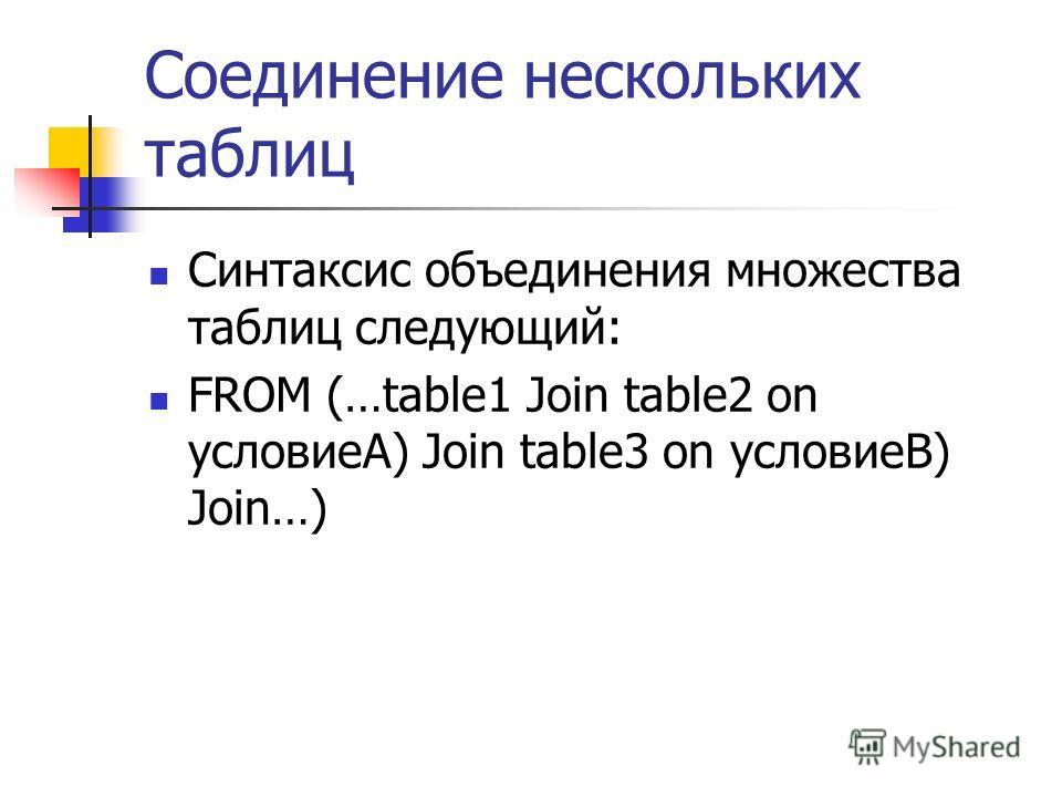 Соединение нескольких таблиц Синтаксис объединения множества таблиц следующий: FROM (…table1 Join table2 on условиеА) Join table3 on условиеВ) Join…)