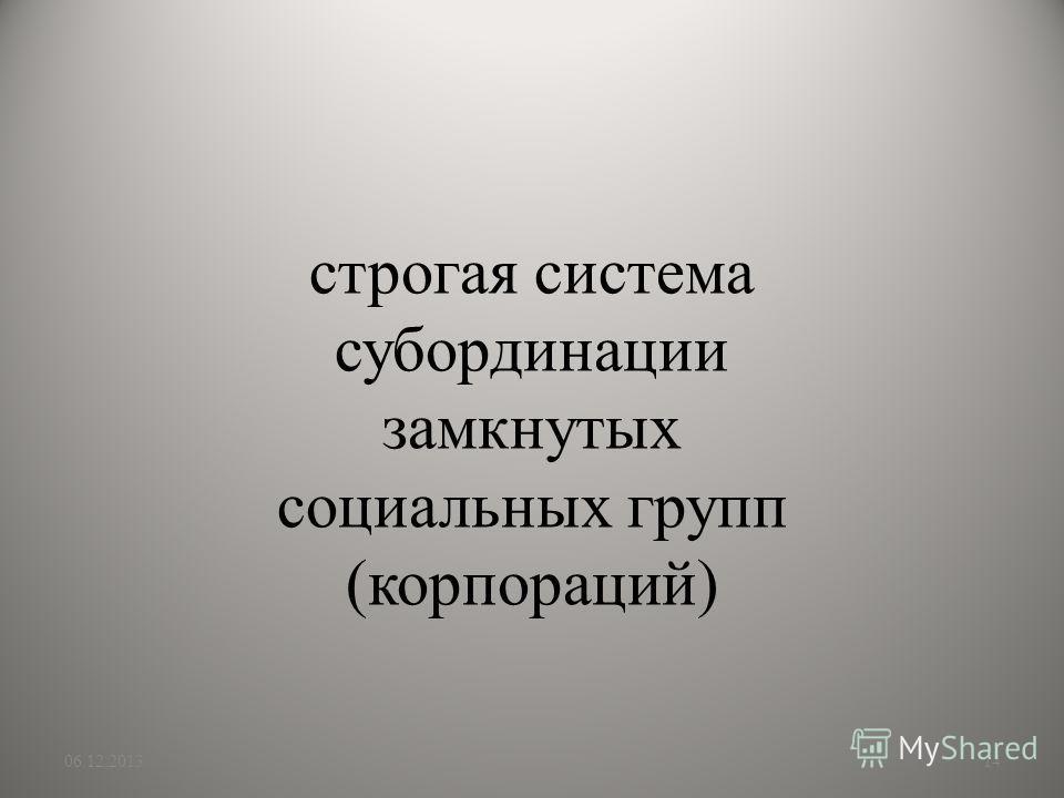 строгая система субординации замкнутых социальных групп (корпораций) 06.12.201314