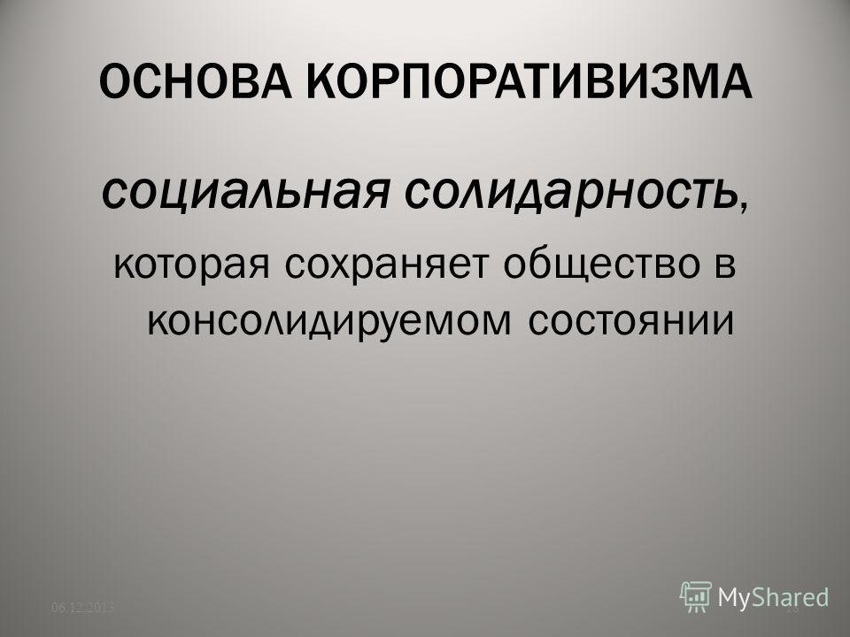 ОСНОВА КОРПОРАТИВИЗМА социальная солидарность, которая сохраняет общество в консолидируемом состоянии 06.12.201318