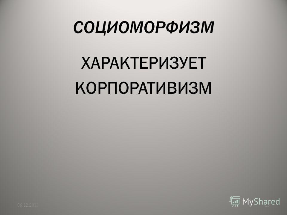 СОЦИОМОРФИЗМ ХАРАКТЕРИЗУЕТ КОРПОРАТИВИЗМ 06.12.201325
