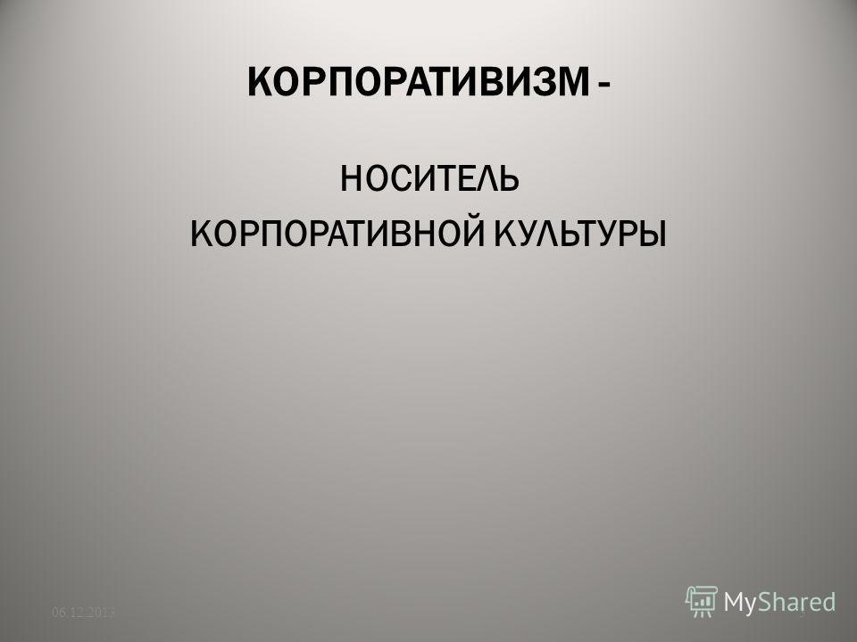 КОРПОРАТИВИЗМ - НОСИТЕЛЬ КОРПОРАТИВНОЙ КУЛЬТУРЫ 06.12.20133