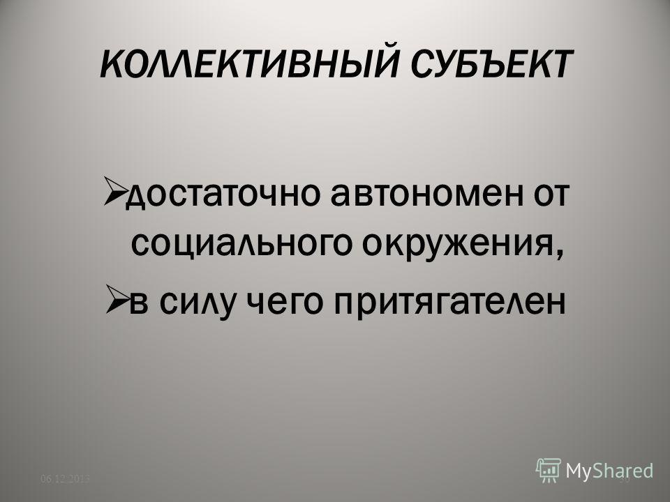 КОЛЛЕКТИВНЫЙ СУБЪЕКТ достаточно автономен от социального окружения, в силу чего притягателен 06.12.201330