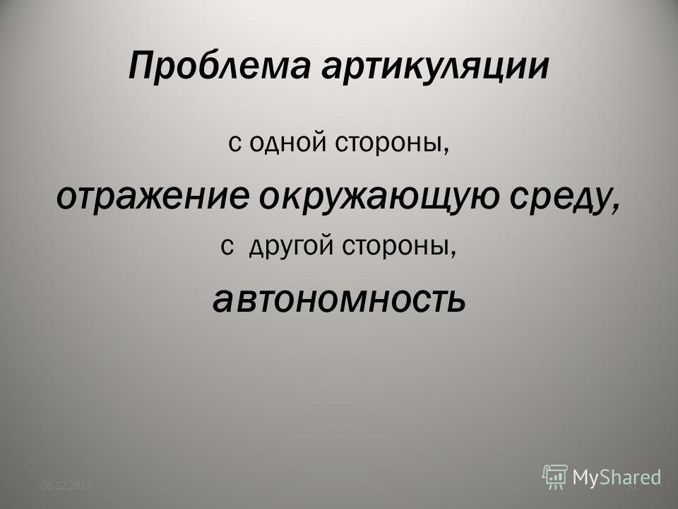 Проблема артикуляции с одной стороны, отражение окружающую среду, с другой стороны, автономность 06.12.201331