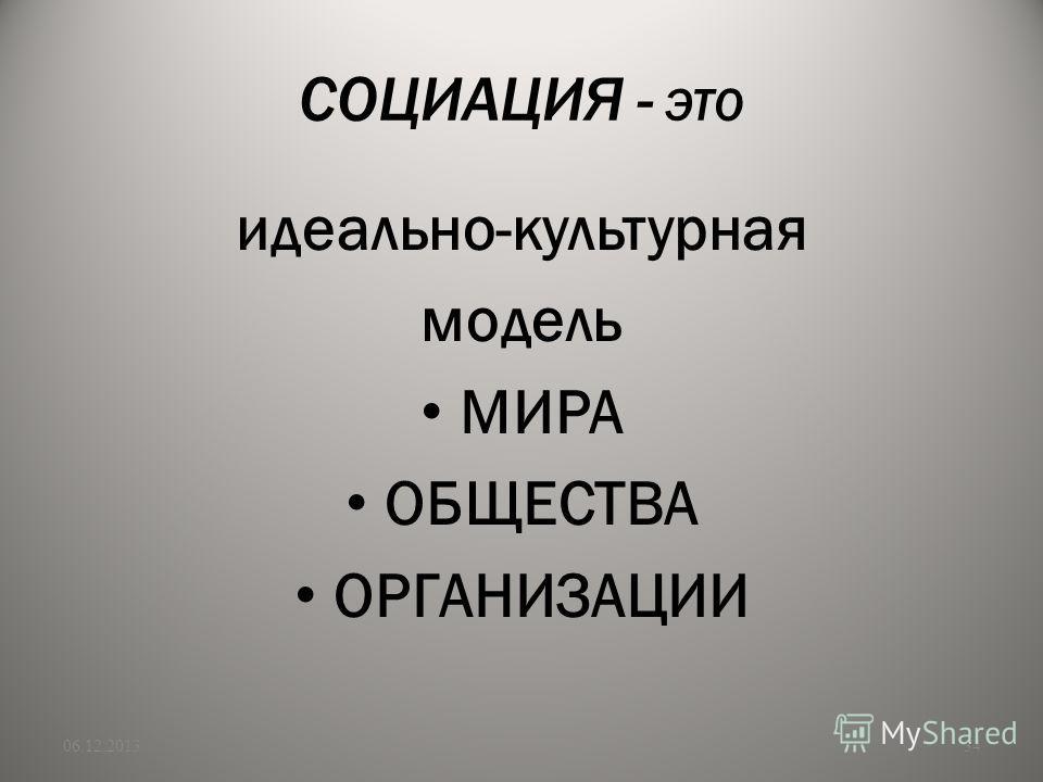 СОЦИАЦИЯ - ЭТО идеально-культурная модель МИРА ОБЩЕСТВА ОРГАНИЗАЦИИ 06.12.201334