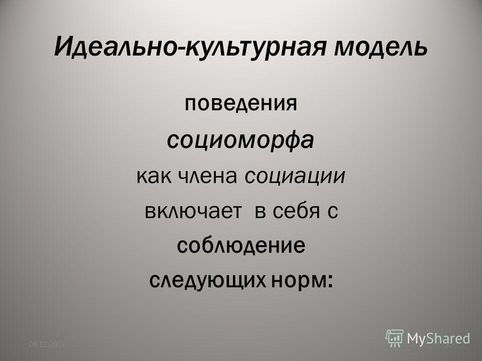 Идеально-культурная модель поведения социоморфа как члена социации включает в себя с соблюдение следующих норм: 06.12.201335