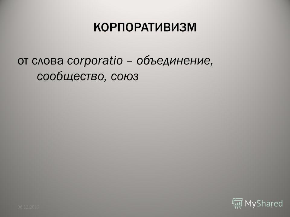 КОРПОРАТИВИЗМ от слова corporatio – объединение, сообщество, союз 06.12.20134