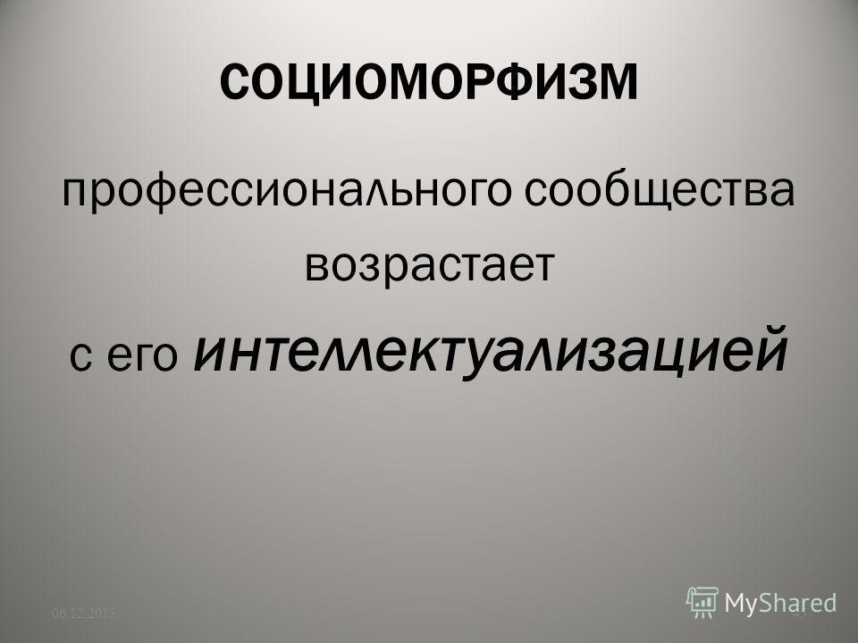 СОЦИОМОРФИЗМ профессионального сообщества возрастает с его интеллектуализацией 06.12.201345