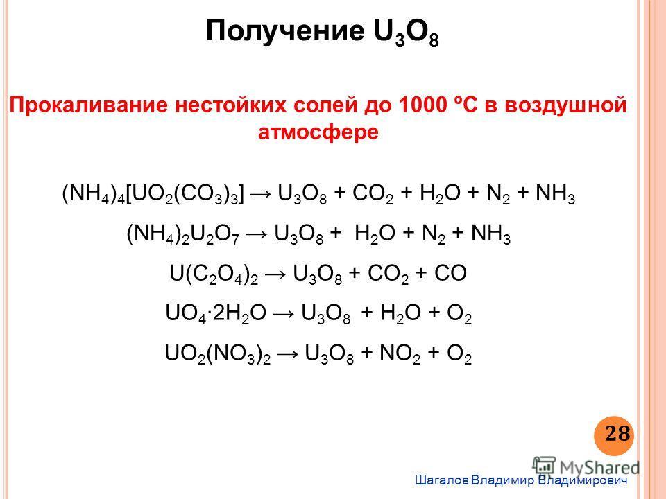 Шагалов Владимир Владимирович 28 Получение U 3 O 8 Прокаливание нестойких солей до 1000 ºС в воздушной атмосфере (NH 4 ) 4 [UO 2 (CO 3 ) 3 ] U 3 O 8 + CO 2 + H 2 O + N 2 + NH 3 (NH 4 ) 2 U 2 O 7 U 3 O 8 + H 2 O + N 2 + NH 3 U(C 2 O 4 ) 2 U 3 O 8 + CO