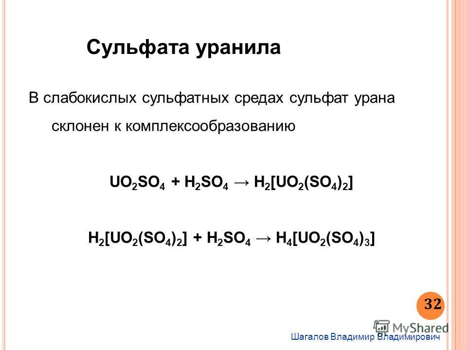 Шагалов Владимир Владимирович 32 Сульфата уранила В слабокислых сульфатных средах сульфат урана склонен к комплексообразованию UO 2 SO 4 + H 2 SO 4 H 2 [UO 2 (SO 4 ) 2 ] H 2 [UO 2 (SO 4 ) 2 ] + H 2 SO 4 H 4 [UO 2 (SO 4 ) 3 ]