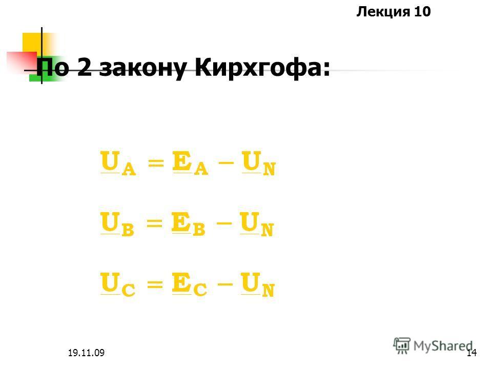 Лекция 10 19.11.0913 Напряжение смещения нейтралей