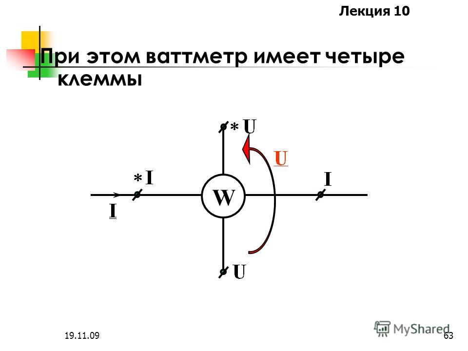 Лекция 10 19.11.0962 Измерение мощности осуществляется ваттметрами, которые имеют две обмотки: токовую обмотку с малым сопротивлением и обмотку напряжения с большим сопротивлением