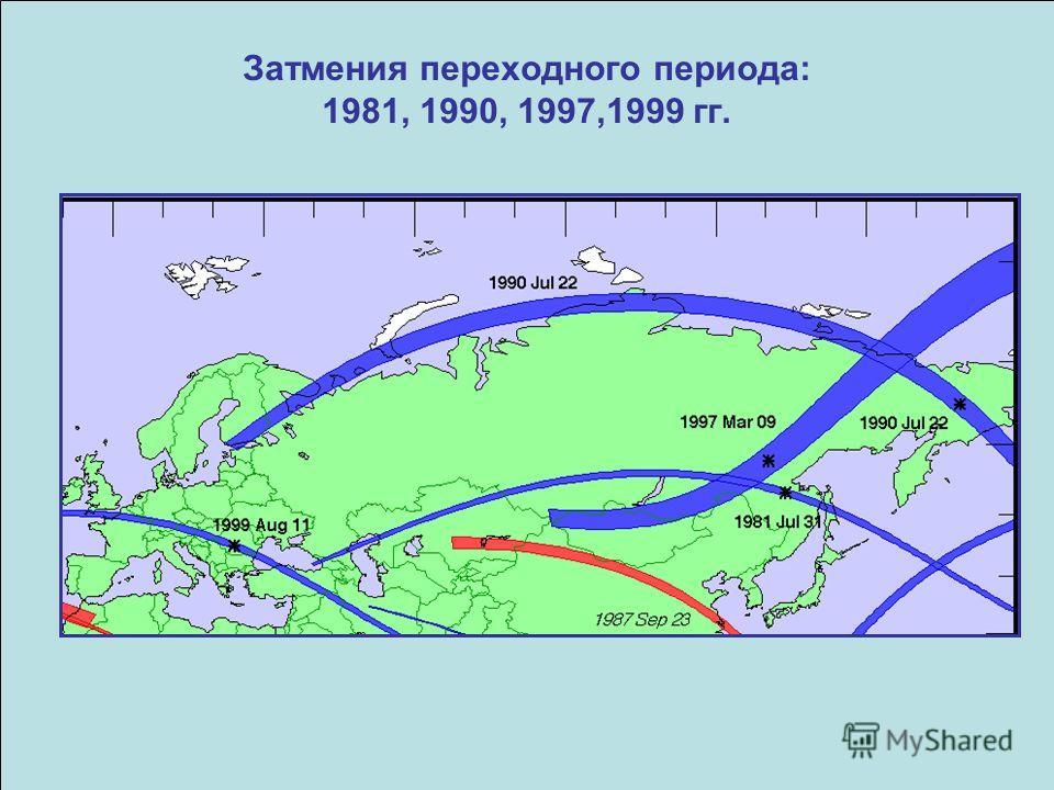 Затмения переходного периода: 1981, 1990, 1997,1999 гг.