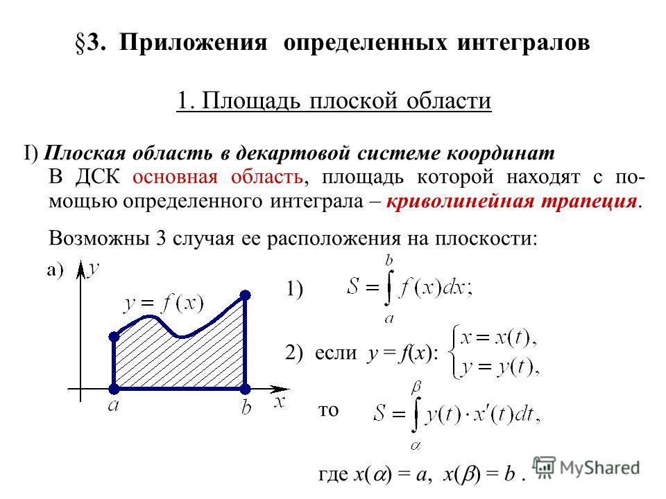 §3. Приложения определенных интегралов 1. Площадь плоской области I) Плоская область в декартовой системе координат В ДСК основная область, площадь которой находят с по- мощью определенного интеграла – криволинейная трапеция. Возможны 3 случая ее рас