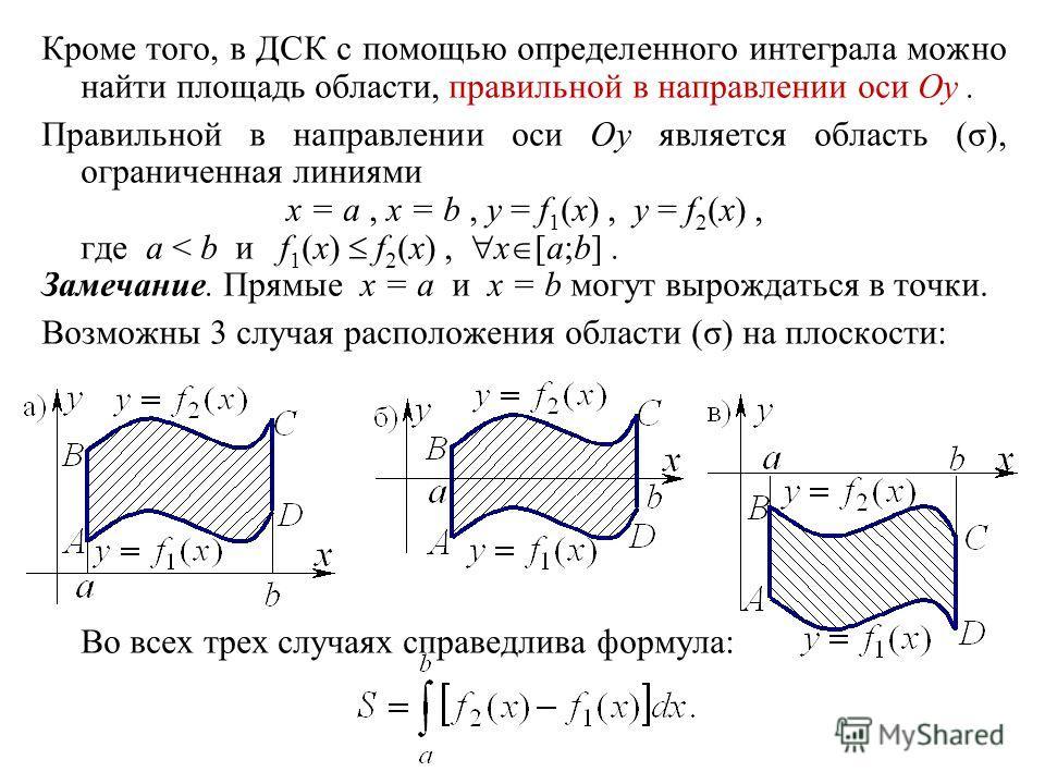 Кроме того, в ДСК с помощью определенного интеграла можно найти площадь области, правильной в направлении оси Oy. Правильной в направлении оси Oy является область (σ), ограниченная линиями x = a, x = b, y = f 1 (x), y = f 2 (x), где a < b и f 1 (x) f