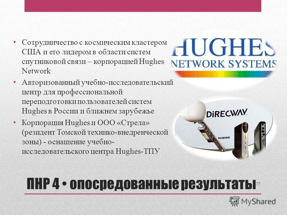 Сотрудничество с космическим кластером США и его лидером в области систем спутниковой связи – корпорацией Hughes Network Авторизованный учебно-исследовательский центр для профессиональной переподготовки пользователей систем Hughes в России и ближнем