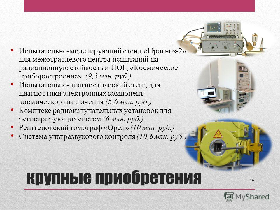 Испытательно-моделирующий стенд «Прогноз-2» для межотраслевого центра испытаний на радиационную стойкость и НОЦ «Космическое приборостроение» (9,3 млн. руб.) Испытательно-диагностический стенд для диагностики электронных компонент космического назнач