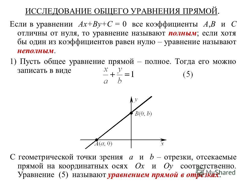 ИССЛЕДОВАНИЕ ОБЩЕГО УРАВНЕНИЯ ПРЯМОЙ. Если в уравнении Ax+By+C = 0 все коэффициенты A,B и C отличны от нуля, то уравнение называют полным; если хотя бы один из коэффициентов равен нулю – уравнение называют неполным. 1) Пусть общее уравнение прямой –