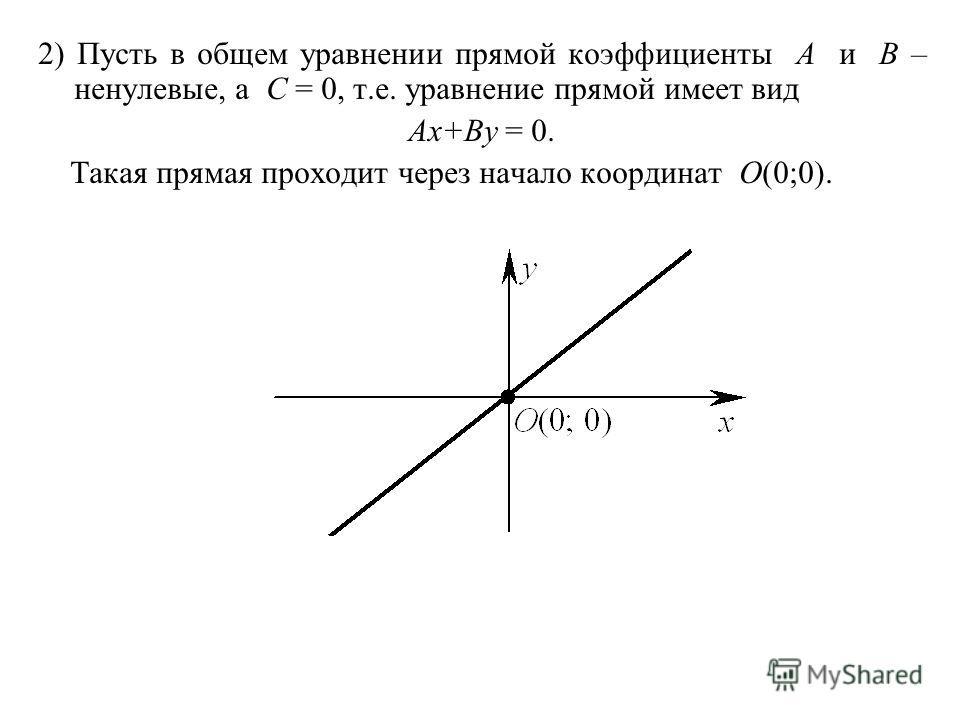 2) Пусть в общем уравнении прямой коэффициенты A и B – ненулевые, а C = 0, т.е. уравнение прямой имеет вид Ax+By = 0. Такая прямая проходит через начало координат O(0;0).