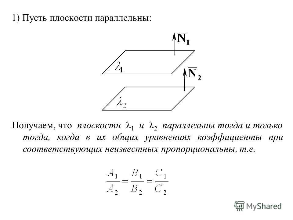 1) Пусть плоскости параллельны: Получаем, что плоскости λ 1 и λ 2 параллельны тогда и только тогда, когда в их общих уравнениях коэффициенты при соответствующих неизвестных пропорциональны, т.е.
