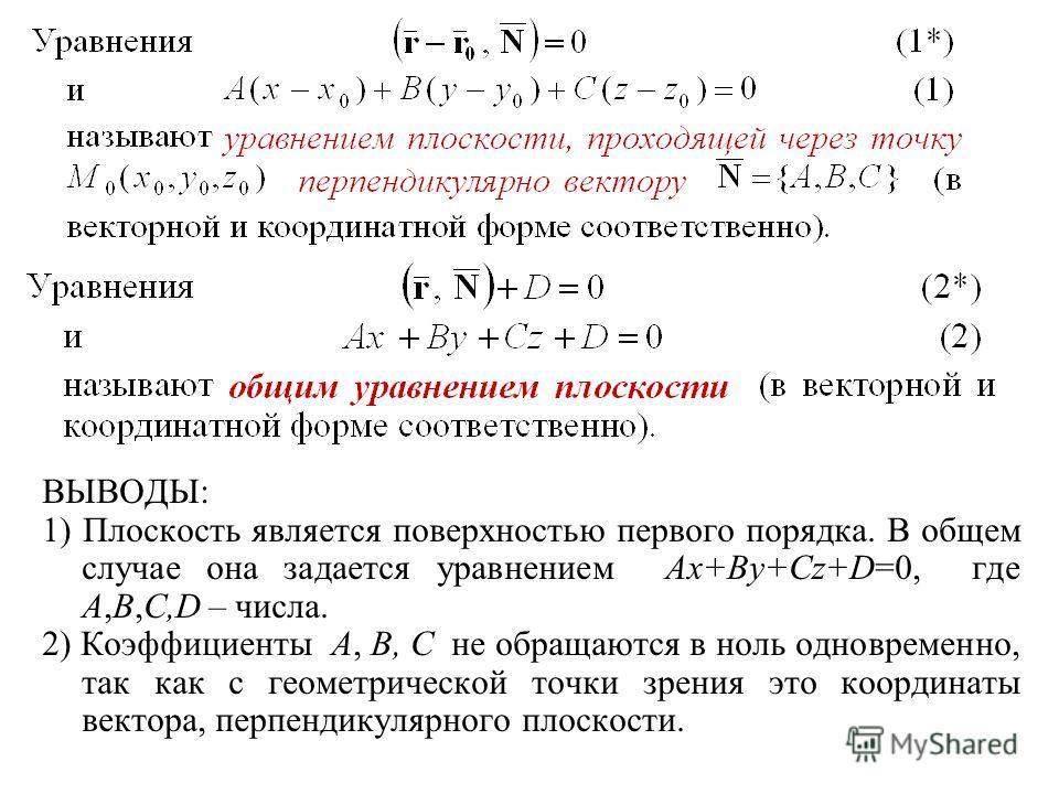 ВЫВОДЫ: 1) Плоскость является поверхностью первого порядка. В общем случае она задается уравнением Ax+By+Cz+D=0, где A,B,C,D – числа. 2) Коэффициенты A, B, C не обращаются в ноль одновременно, так как с геометрической точки зрения это координаты вект
