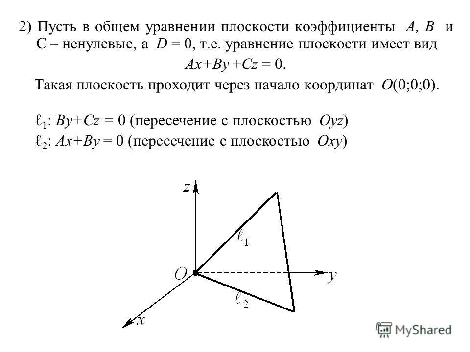 2) Пусть в общем уравнении плоскости коэффициенты A, B и C – ненулевые, а D = 0, т.е. уравнение плоскости имеет вид Ax+By +Cz = 0. Такая плоскость проходит через начало координат O(0;0;0). 1 : By+Cz = 0 (пересечение с плоскостью Oyz) 2 : Ax+By = 0 (п