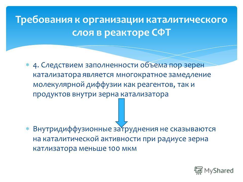 Требования к организации каталитического слоя в реакторе СФТ 4. Следствием заполненности объема пор зерен катализатора является многократное замедление молекулярной диффузии как реагентов, так и продуктов внутри зерна катализатора Внутридиффузионные