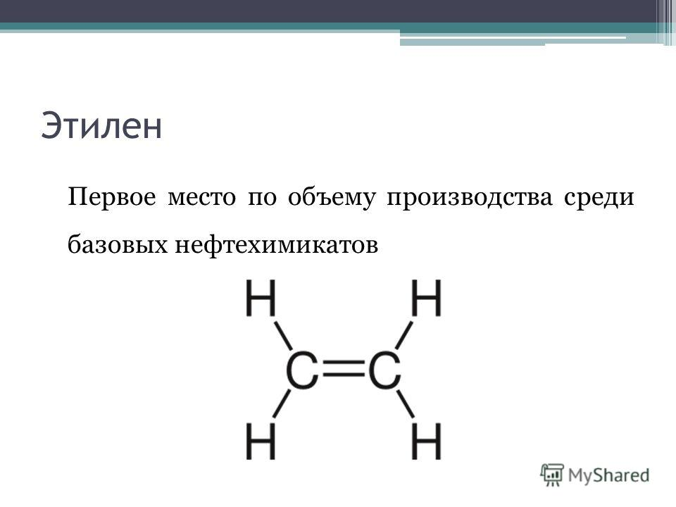 Этилен Первое место по объему производства среди базовых нефтехимикатов