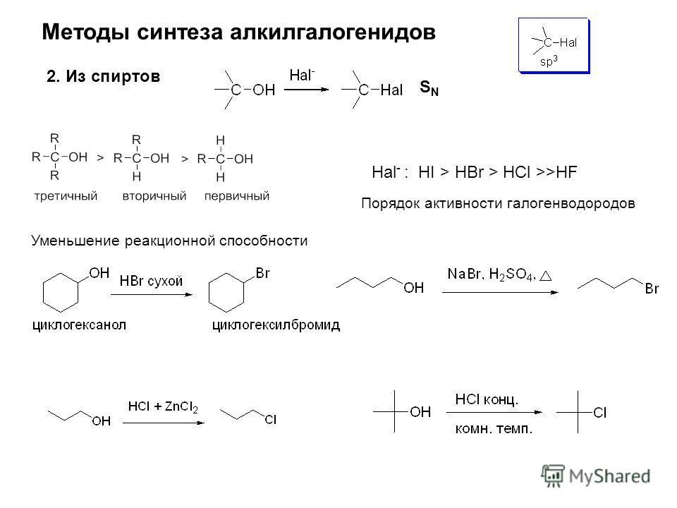Методы синтеза алкилгалогенидов 2. Из спиртов Hal - : HI > HBr > HCl >>HF Порядок активности галогенводородов Уменьшение реакционной способности SNSN