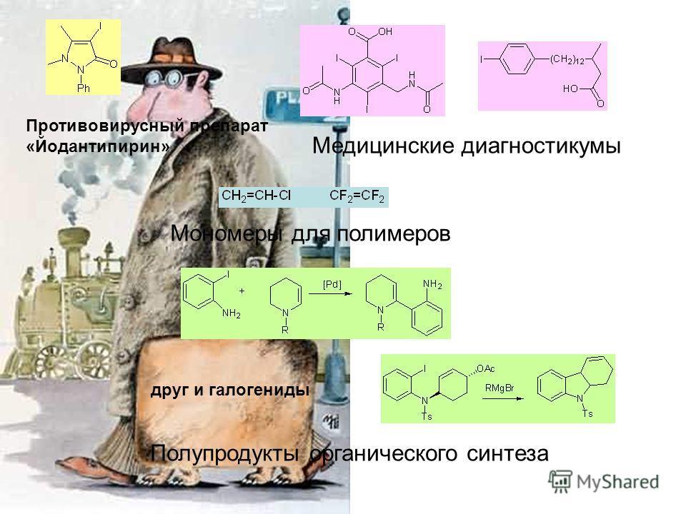 друг и галогениды Противовирусный препарат «Йодантипирин» Медицинские диагностикумы Полупродукты органического синтеза Мономеры для полимеров